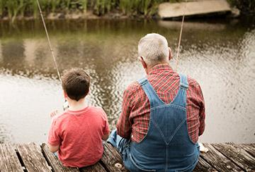 Grandpa and Grandson Fishing